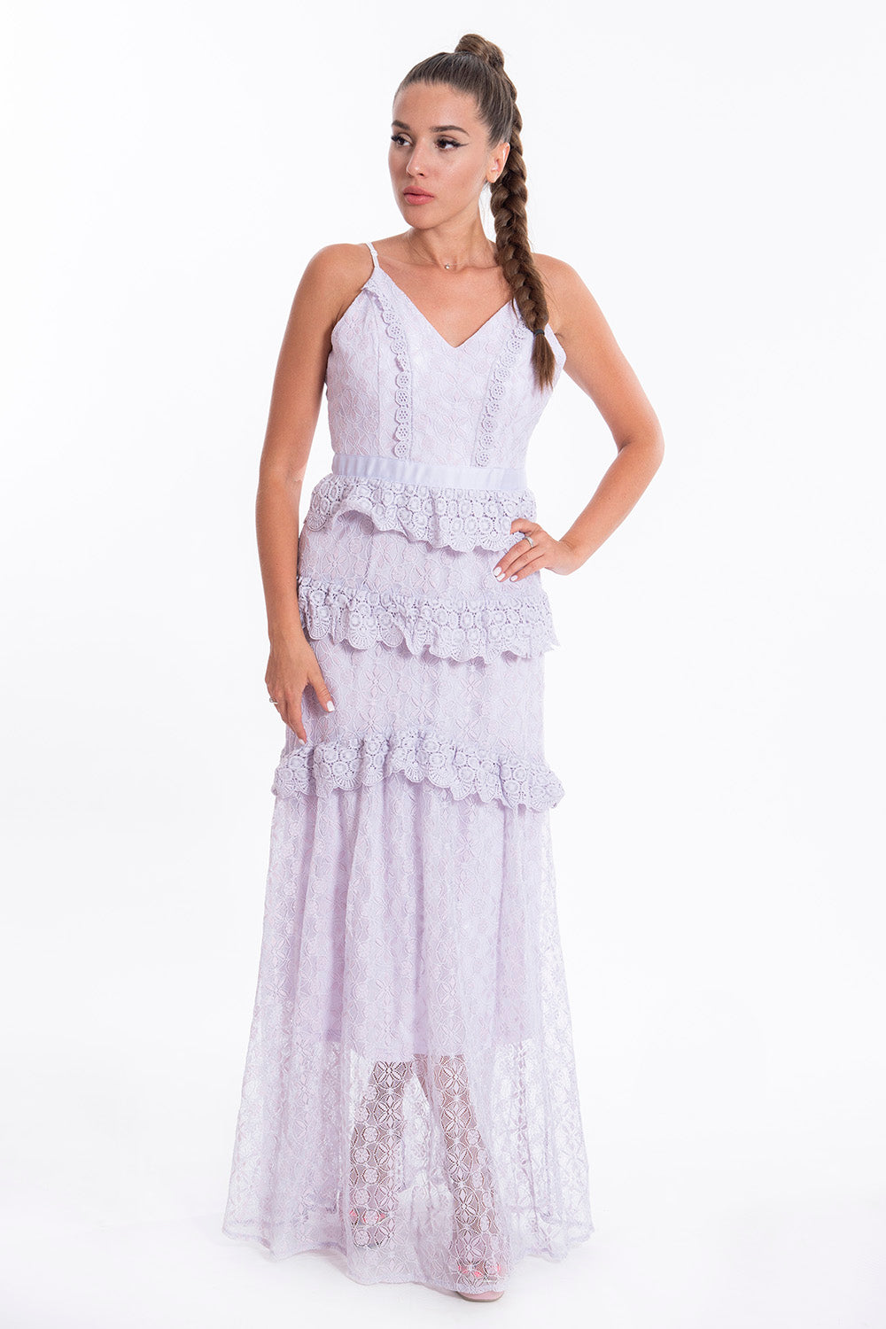 Pink Boom elegant maxi ruffle dress