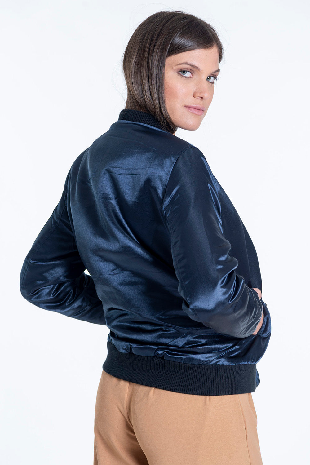 Padded jacket in metallic blue