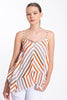 Akè asymmetrical top with stripes and sequins details