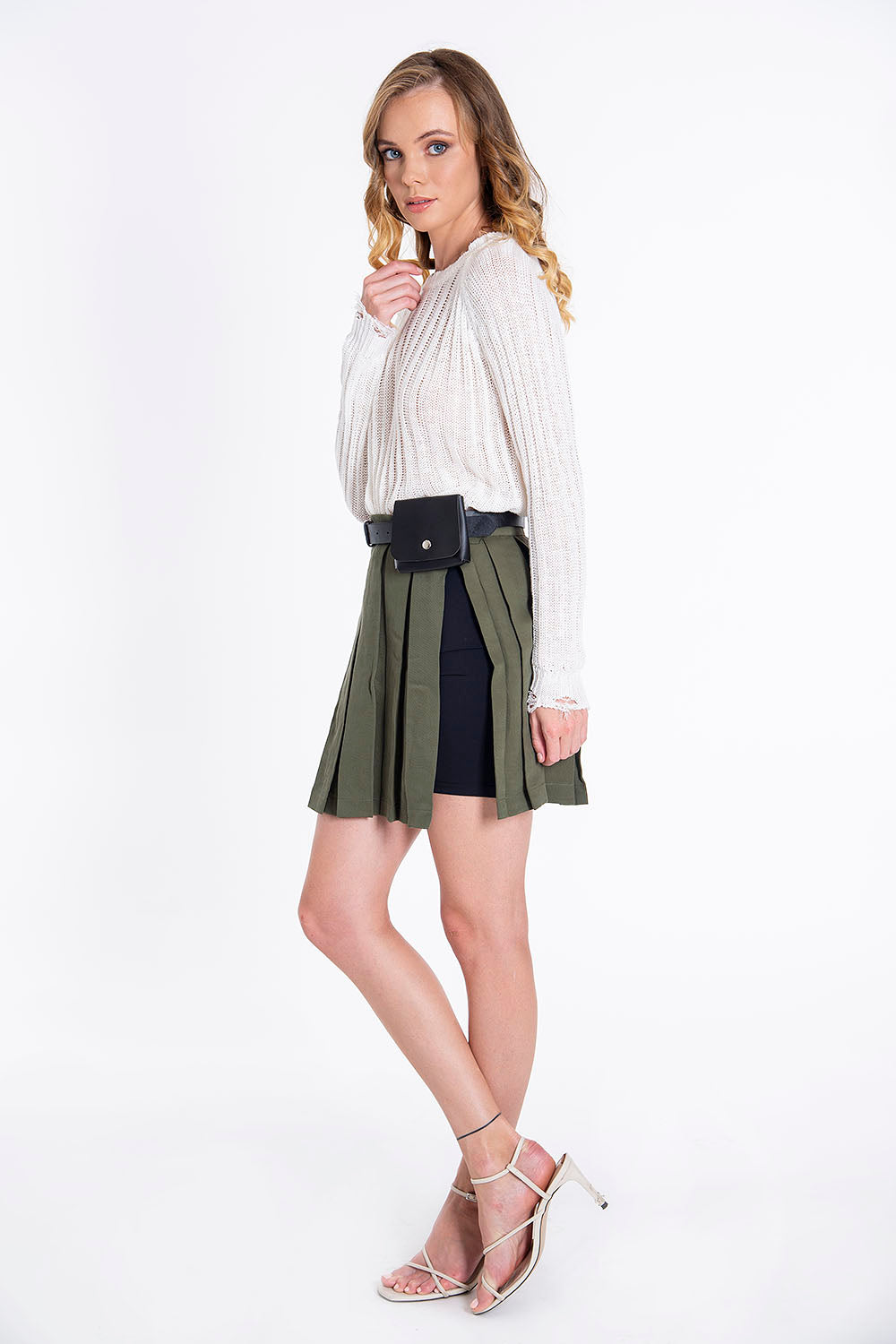 Trash and Luxury military skort with inner shorts and waist belt