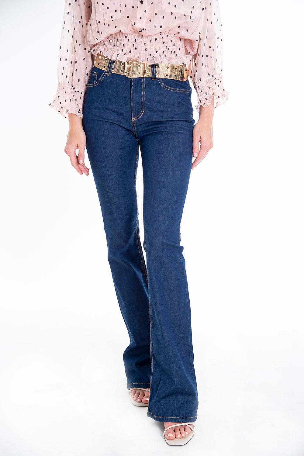 Trash and Luxury belted flare jeans