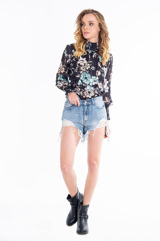 Floral ruff neck long sleeves top