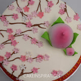 "topper collection -longevity design 3 - peach cherry blossom cream cake ""Shou"" theme 长 寿 蛋 糕 cake . Peach on Cake Big and Small Combined"