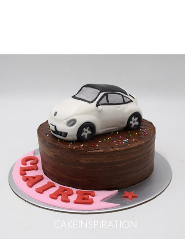 Children custom cake series - topper collection - design 3 - VW beetle classic car design - color can be custom