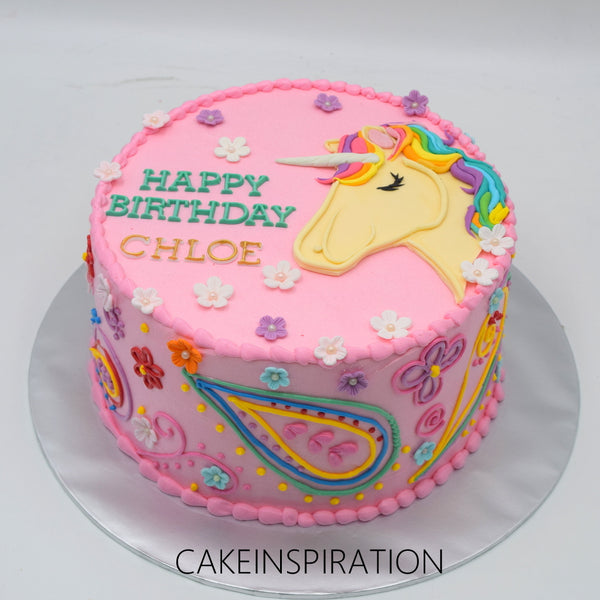 Surface 2D Art Cake Collection .Design 1. Pink Unicorn Handcraft flora cake Singapore