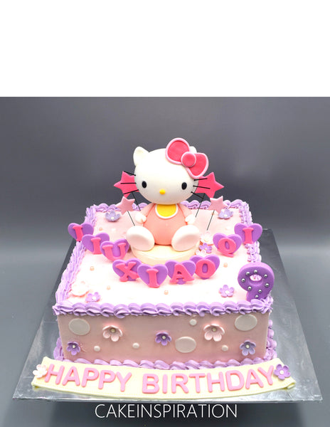 Children custom cake series - topper collection - design 16 Hello Kitty Pink Purple cake