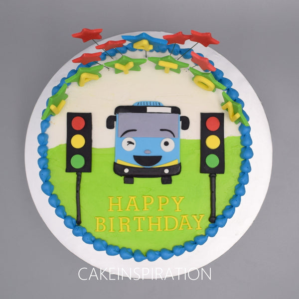 Surface 2D Art Cake Collection .Design 8.  .bus 2D theme design cake