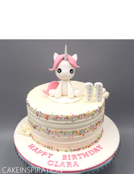 Children custom cake series - topper collection - design 9 - white unicorn super cute with rainbow sprinkle rustic effect
