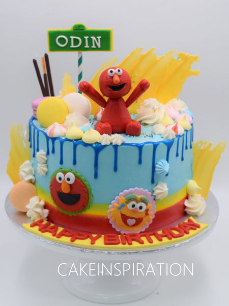 Children custom cake series - topper collection - design 15 Elmo and friends cake Singapore Drip water color meringue cake