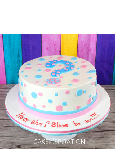 Children Mum to Be  custom cake series - topper collection - design 14 pink blue - gender reveal cake design C