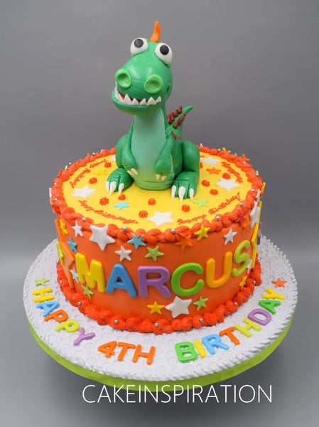 Children custom cake series - topper collection - design 9  Cute Dinosaur figurine name cake