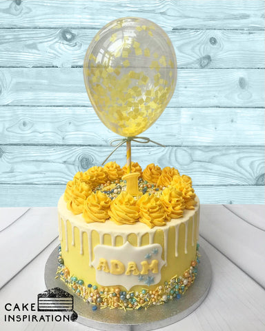 BALLOON DESIGNER CAKE SERIES - DESIGN 06 (Bright Yellow Drip Confetti)