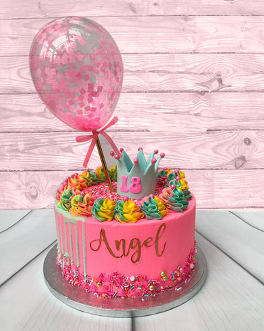 BALLOON DESIGNER CAKE SERIES - DESIGN 07 (Neon Pink, Yellow and Green Crown Confetti)