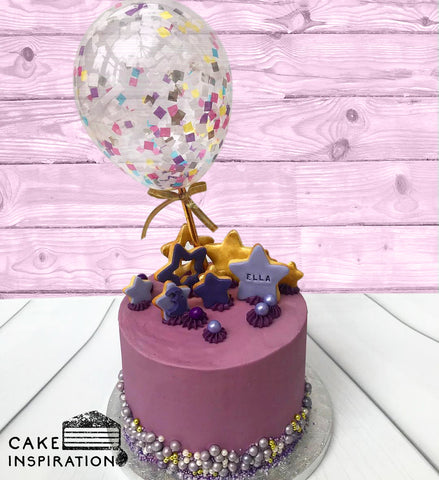 BALLOON DESIGNER CAKE SERIES - DESIGN 08 (Purple Gold Stars Confetti)