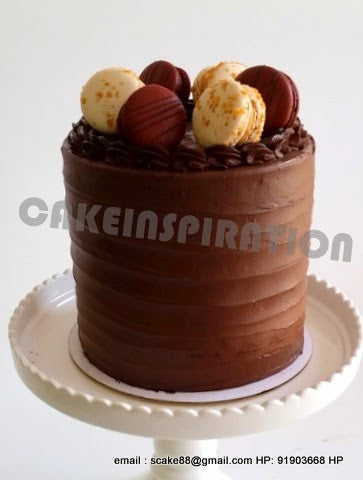 Belgium Chocolate Slim Cake , choc cake inside w 6 x macarons. 6 layers inside