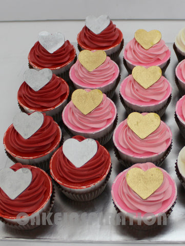 CUSTOMIZED dessert  COLLECTION / wedding COLLECTION/  cupcakes red pink w golden hearts