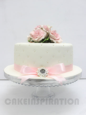 CUSTOMIZED WEDDING COLLECTION / 1 Tier White Elegant Wedding Cake With Royal Pastel Rose