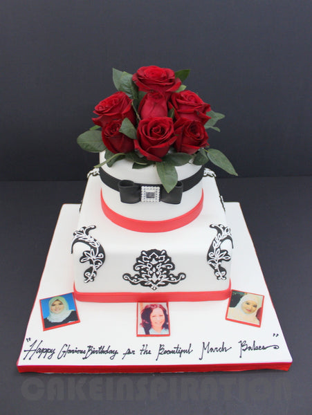 Corporate COLLECTION / Red Elegant Roses On Top of 2 Tier Designed Cake With Edible Prints