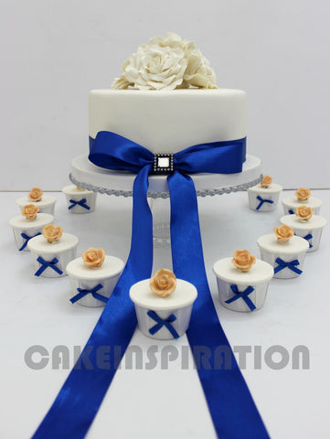 CUSTOMIZED WEDDING COLLECTION / White Elegant Wedding Cake With A Blue Bow And White Pastel Rose