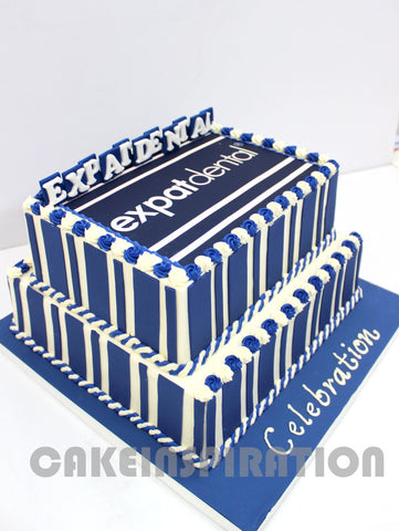 CUSTOMIZED CORPORATE COLLECTION / BLUE WHITE 2 TIER BUTTERCREAM RECT CAKE