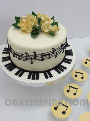CUSTOMIZED WEDDING COLLECTION / GOLDEN WHITE 1 TIER YELLOW ROSE MUSICAL NOTE WEDDING CAKE