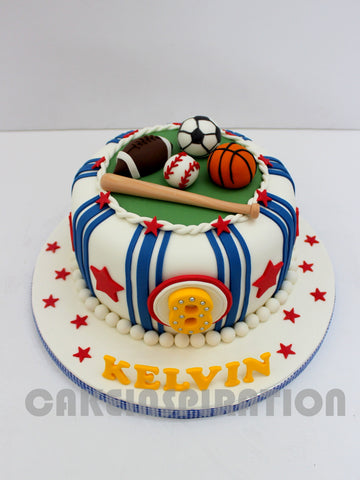 CUSTOMIZED CHILDREN COLLECTION / COLORFUL  1 TIER SPORT THEME BOY'S 1ST YEAR CAKE
