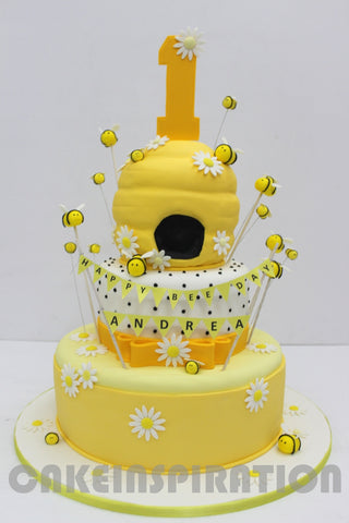 children  COLLECTION / yellow bee's hive 3 tiers baby cake for 1st year celebration