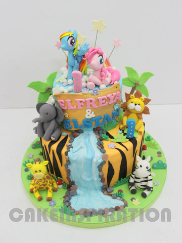 CUSTOMIZED CHILDREN COLLECTION / COLORFUL  2 TIER JUNGLE SAFARI ANIMALS CAKE