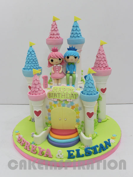 CUSTOMIZED CHILDREN COLLECTION /castle theme little prince and princess theme cake