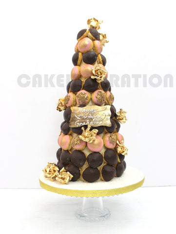 PINK GOLD CROQEMBOUCHE TOWER / LONGEVITY / CORPORATE CUSTOMIZED DESSERT / WEDDING COLLECTION