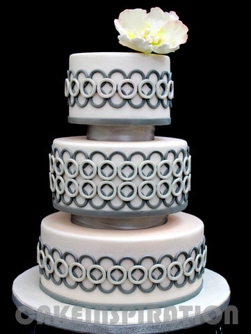 WEDDING COLLECTION / RENTAL WEDDING CAKE  /  3 tier modern ring patterned wedding cake / pastel white