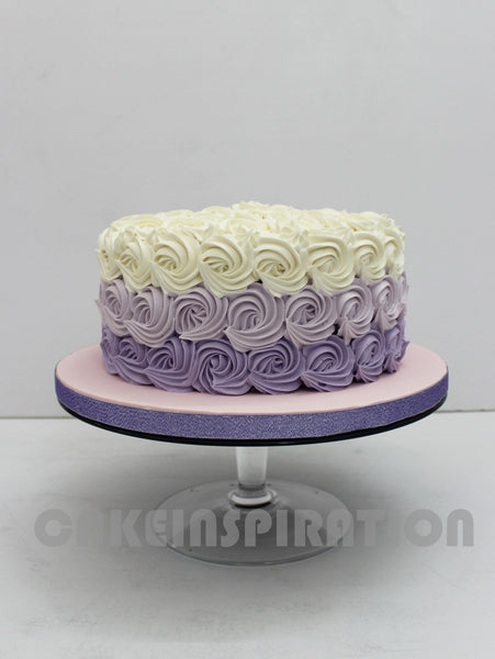 Ombre Purple Rosette Swirls Wedding Cake Cupcakes Over 3