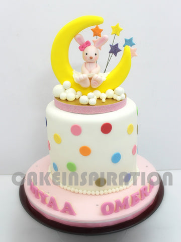 CHILDREN  COLLECTION / pastel pink rabbit bunny princess over the moon cake