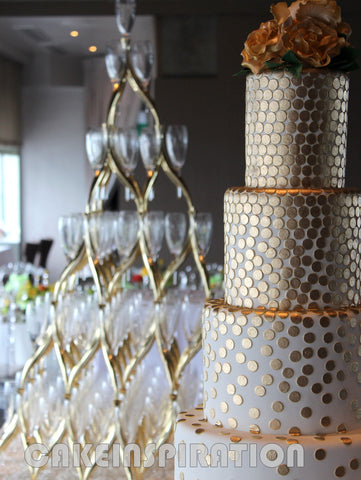WEDDING COLLECTION / RENTAL /4 TIER  / modern gold pattern asymmetric design