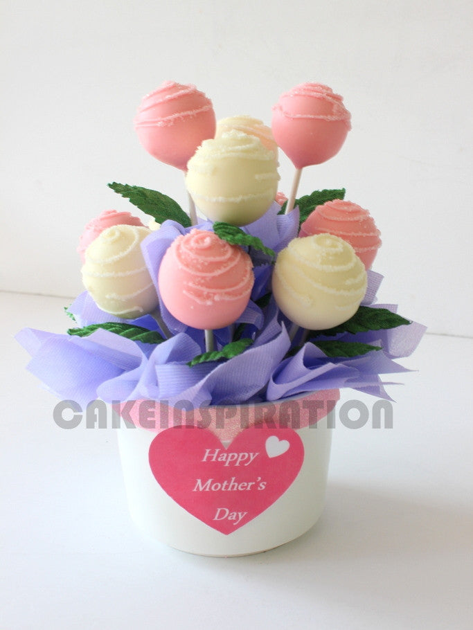 ROSE BOUQUET WITH 12 CAKE POP / customized dessert collection / cake ...
