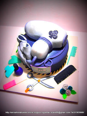 CUSTOMIZED 3d cake COLLECTION / corporate/Cover Hair Dryer salon opening ceremony cake