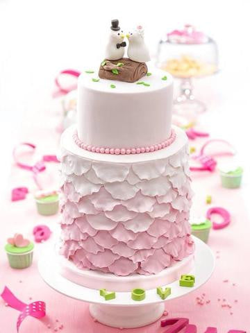 CUSTOMIZED WEDDING COLLECTION / Owl Theme wedding cake - Ombre petals 2 tier customized pink