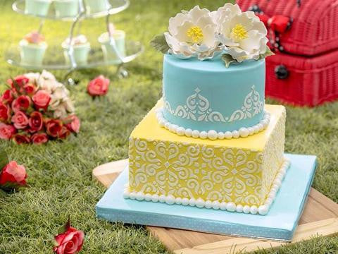 CUSTOMIZED WEDDING COLLECTION / VINTAGE pastel damask pattern wedding cake