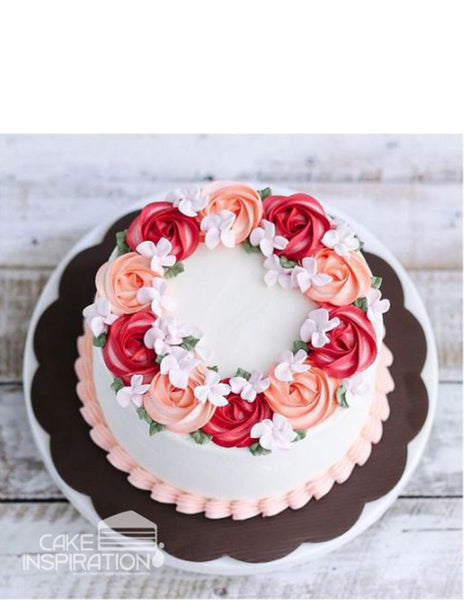 ROSETTE CREAM ART COLLECTION - DESIGN 23 (Rose Red , 2 tone Rosette wreath design Cake with mixed of white)