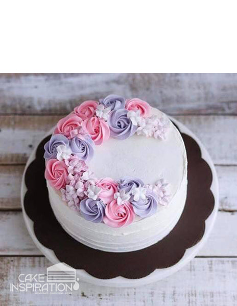 ROSETTE CREAM ART COLLECTION - DESIGN 24 ( Pink Lavender Rosette cake wreath design )