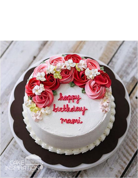 ROSETTE CREAM ART COLLECTION - DESIGN 38 ( Elegant white contrast Red Pink Roses Rosette Cake )