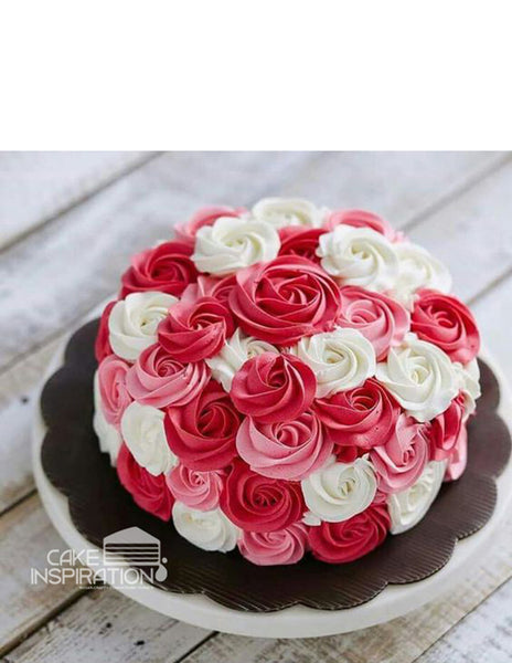 ROSETTE CREAM ART COLLECTION - DESIGN 43 (NEW ) FULL ROSETTE ROSE ARTCAKE RED WHITE PERFECT ROSETTE CAKE