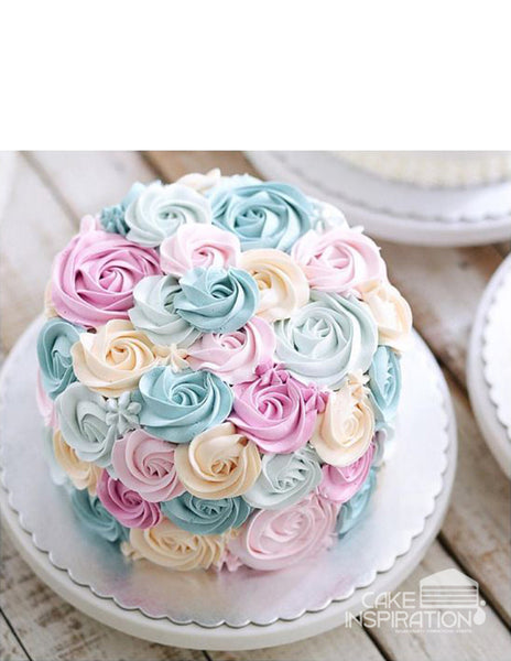 ROSETTE CREAM ART COLLECTION - DESIGN 45 ( NEW ) FULL ROSETTE PASTEL THEME CAKE