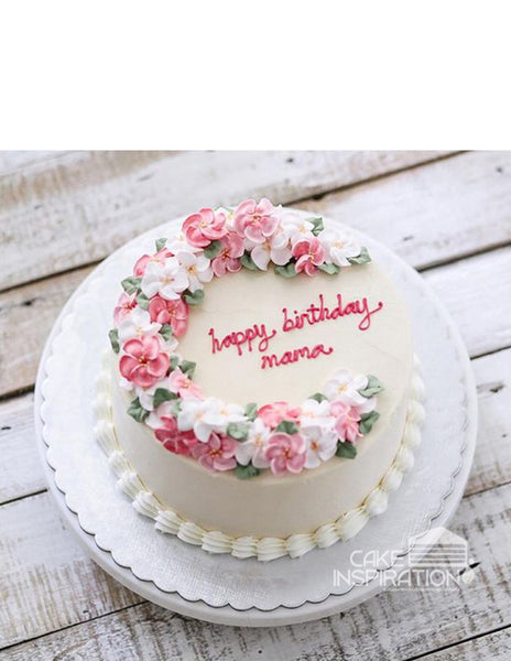 ROSETTE CREAM ART COLLECTION - DESIGN 49 ( NEW ) WREATH PETALS AND FLORA PASTEL GARDEN FEEL  DESIGN ART CAKE