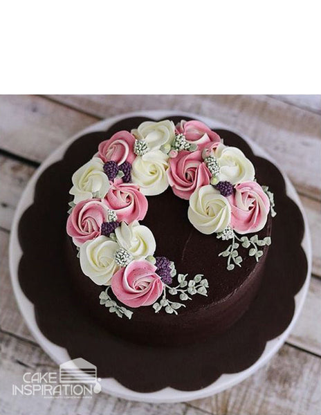 ROSETTE CREAM ART COLLECTION - DESIGN 55 ( Elegant Black Choc Ganache cake contrast dusty pink roses rosette cake )