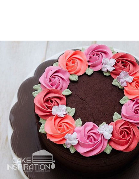 ROSETTE CREAM ART COLLECTION - DESIGN 59 (NEW ) CHOC GANACHE BASED CONTRAST PASTEL WREATH ROSETTE CREAM CAKE)