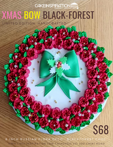 RUSSIAN FLORA WREATH XMAS BOW BLACK-FORREST CAKE
