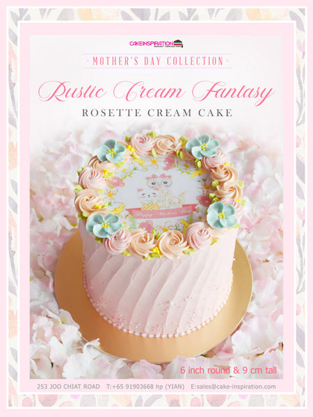MOM & ME Mother's day collection - Design C Rustic Cream Fantasy  ( Pink Rosette with Blue Flowers )