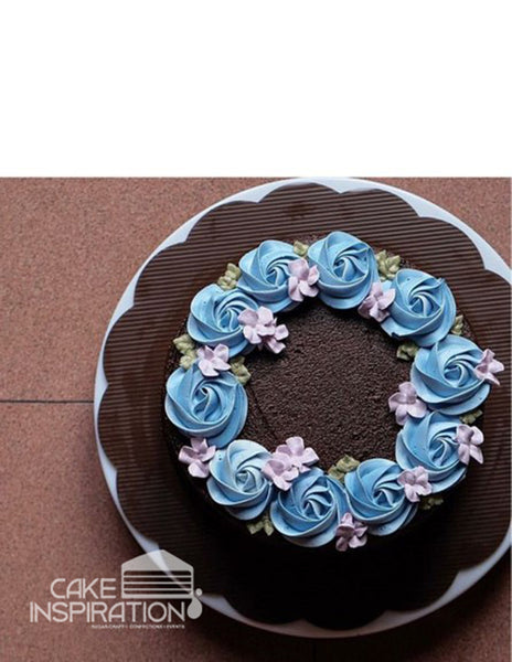 ROSETTE CREAM ART COLLECTION - DESIGN 60 (NEW ) CHOC GANACHE BASED CONTRAST PASTEL WREATH ROSETTE CREAM CAKE
