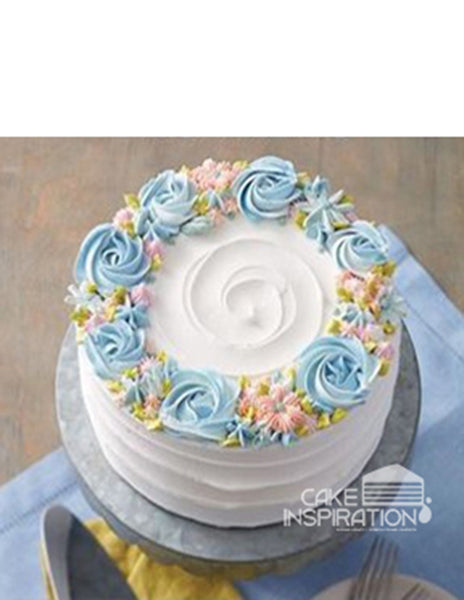 ROSETTE CREAM ART COLLECTION - DESIGN 62 WREATH ROSETTE CREAM PASTEL DESIGN CAKE ( WHITE )